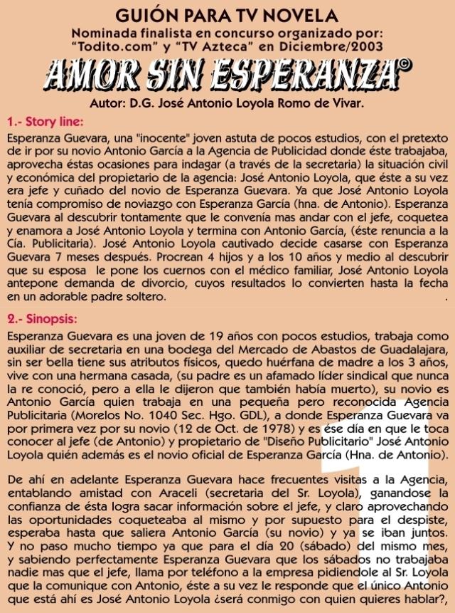 """Guión TV Novela Real: """"Amor sin Esperanza""""…"""