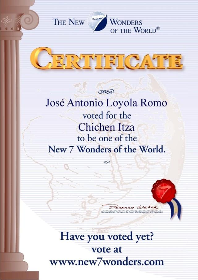 2007 05 08 Certificado José Antonio Loyola R. Chichen Itza (JPG)